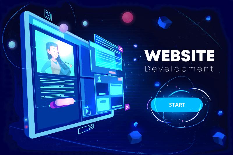 Girl designing a website
